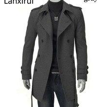 Быстрая, новинка, мужские куртки с двойной пряжкой, мужское длинное пальто с поясом, двубортный плащ, Прямая поставка