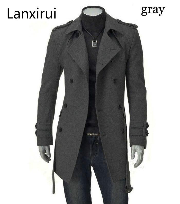 Быстрая доставка, новинка 2019, мужские куртки, двубортное мужское длинное пальто с пряжкой, с поясом, двубортный Тренч, Прямая поставка