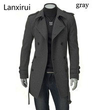 Fast Shipping  New Men 'S Jackets Double Platoon Buckle Men Long Coat With Belt Double Breasted Trench Coat Dropshipping leisure men s backpack with double buckle and black color design