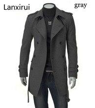 Frete rápido novos jaquetas masculinas duplo pelotão fivela casaco longo com cinto duplo breasted trench coat dropshipping
