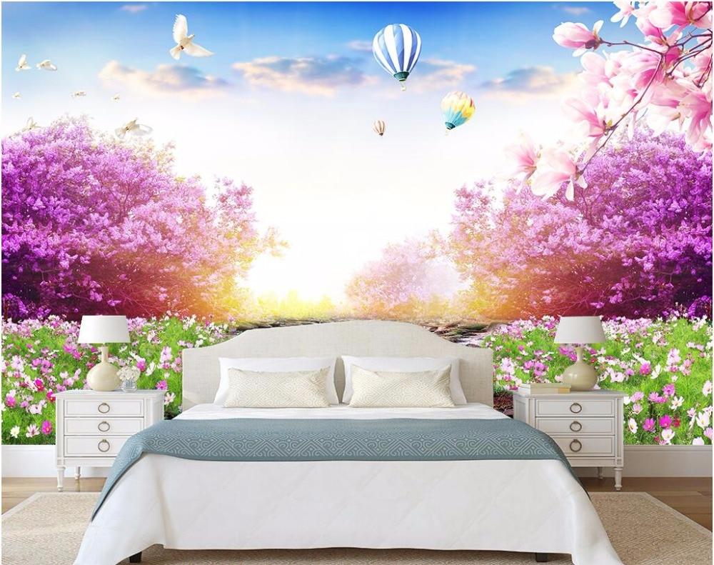 Custom Photo 3d Wallpaper Stream Flowing Water Grass Flowers Wall