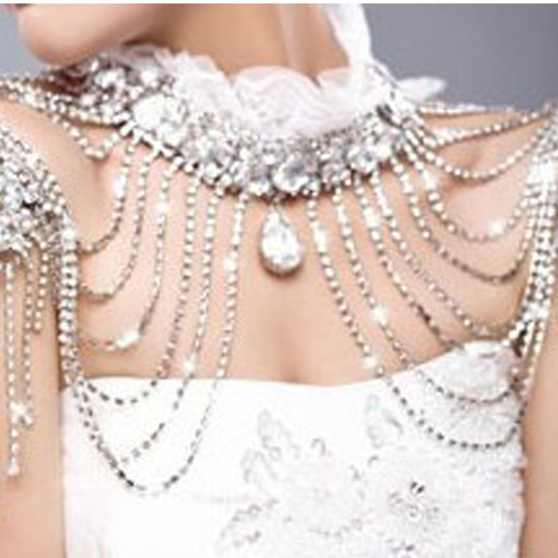 Lace Fashion Bridal Shoulder Chain Necklace Lace Fashion Rhinestone Crystal Necklace Wedding Party Body Chokers Necklace