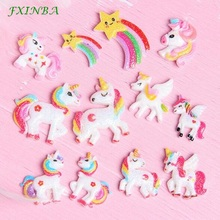 FXINBA 1/3/5/10pcs New Glitter Rainbow Unicorn Charms Slime DIY Ornament Phone Decor Resin Lizun Clay Supplies Toys