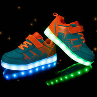 2017 New Fashion Kids Sneakers LED Luminous USB Rechargeable Child Breathable Boys Girls Casual Shoes with lights Size 25~37