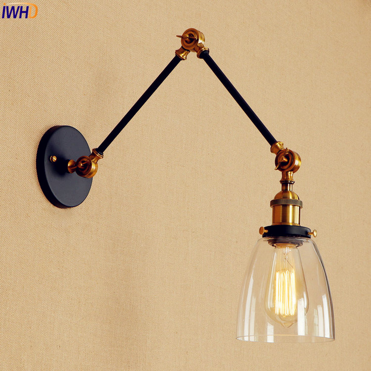 IWHD Adjustable Swing Long Arm Wall Lamp Glass Shade Loft Industrial Vintage Wall Light Fixtures Edison Sconce Stair Lighting brass glass wall lights led vintage edison american home stair lighting living room adjustable arm industrial wall lamp sconce