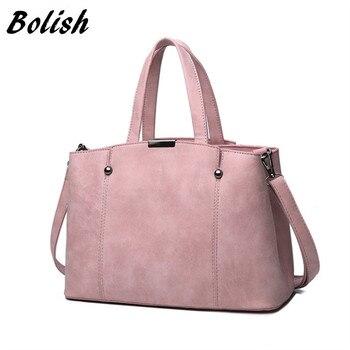 d4254cbad83f Bolish Лидер продаж нубук Для женщин Сумки с короткими ручками Карамельный  цвет женская сумка с заклепками ...