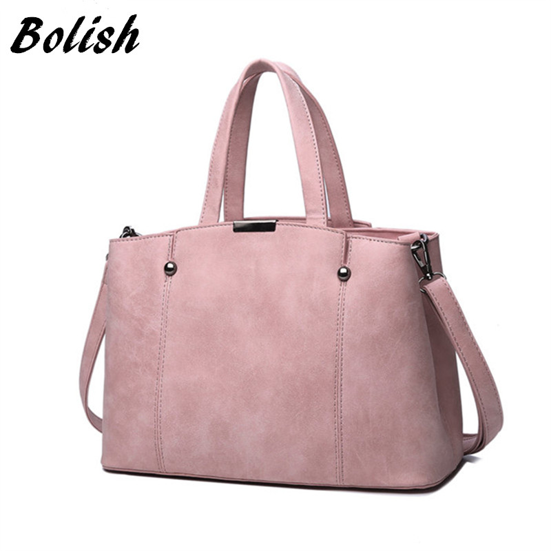 Bolish Hot Sale Nubuck Leather Women Top-Handle Bags Candy Color Women Shoulder Bag Rivet Women Bags