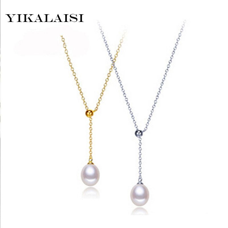 YIKALAISI925 sterling silver Jewelry Pearl Necklace Pearl Jewelry Natural Freshwater Pearl Adjustable Pendant  For Women