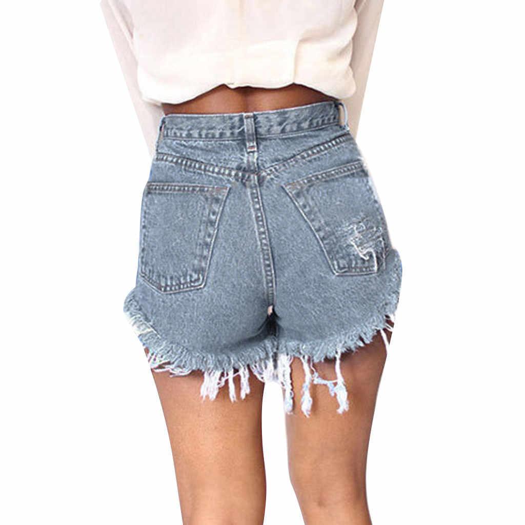 Szorty damskie moda lato kobiet dziura kieszeń dżinsy Denim spodnie kobiece wysokiej talii Slim Sexy szorty spodenki jeansowe damskie lato