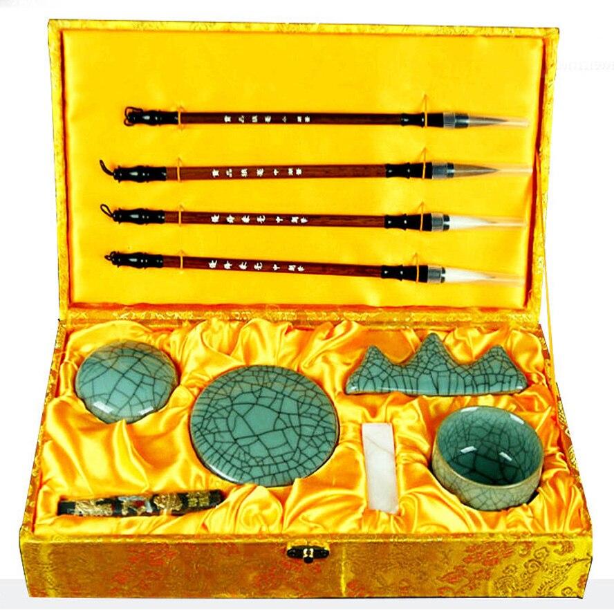 10 pièces/ensemble chinois peinture fournitures quatre trésors d'étude peinture brosse encre bâton eau plaque porte-stylo Art ensemble