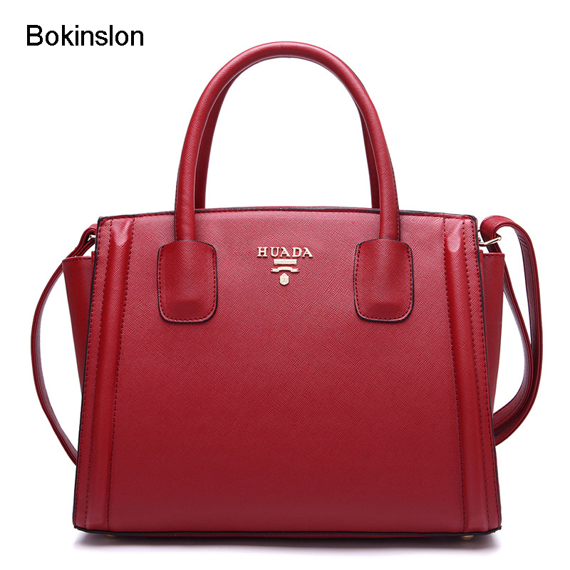 Bokinslon Women Leather Shoulder Bag Fashion Cow Split Leather Woman Handbags Shoulder Bags Casual Female Messenger Bag