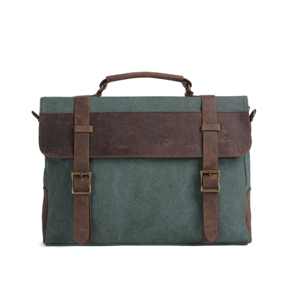 ФОТО Leather Canvas Briefcase Messenger Bag Crossbody Bag Canvas Laptop Bag 1870