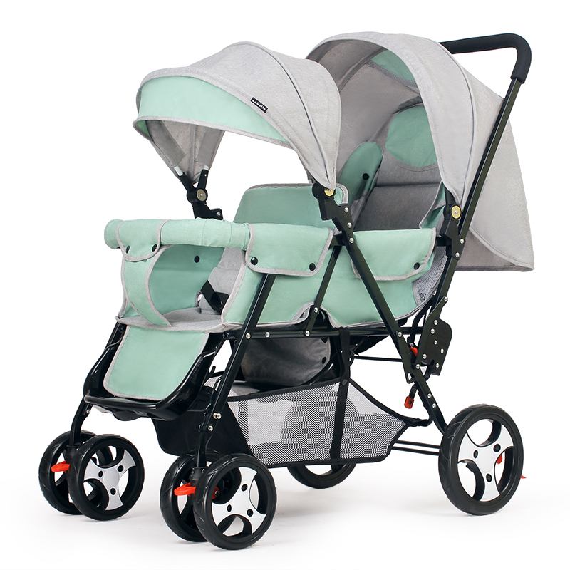 Back and Forth Double Twin Stroller Can Be Reclined Big Four Wheels Baby Stroller Pram Child Trolley Wheelchair Baby Car LightBack and Forth Double Twin Stroller Can Be Reclined Big Four Wheels Baby Stroller Pram Child Trolley Wheelchair Baby Car Light