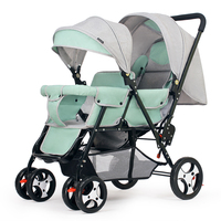 Back and Forth Double Twin Stroller Can Be Reclined Big Four Wheels Baby Stroller Pram Child Trolley Wheelchair Baby Car Light