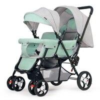 Para trás e para a frente duplo twin carrinho de criança pode ser reclinado grande quatro rodas carrinho de bebê carrinho de criança cadeira de rodas bebê luz do carro