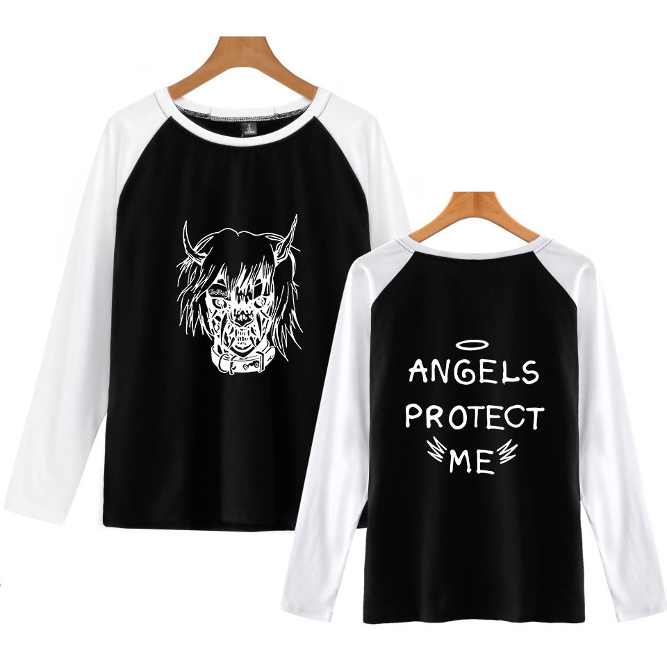 XXXL Autumn Winter LIL PEEP Long Sleeve T Shirt Men Contrast Color Round Collar Mens Casual Raglan lil peep T-Shirts Tees Tops