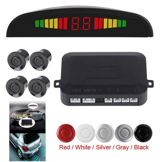 Hot Inteligente e Pequeno Ultrasonic 4 Reverso Do Carro Sistema de Sensor de Estacionamento com Tela LED de Alarme Sonoro