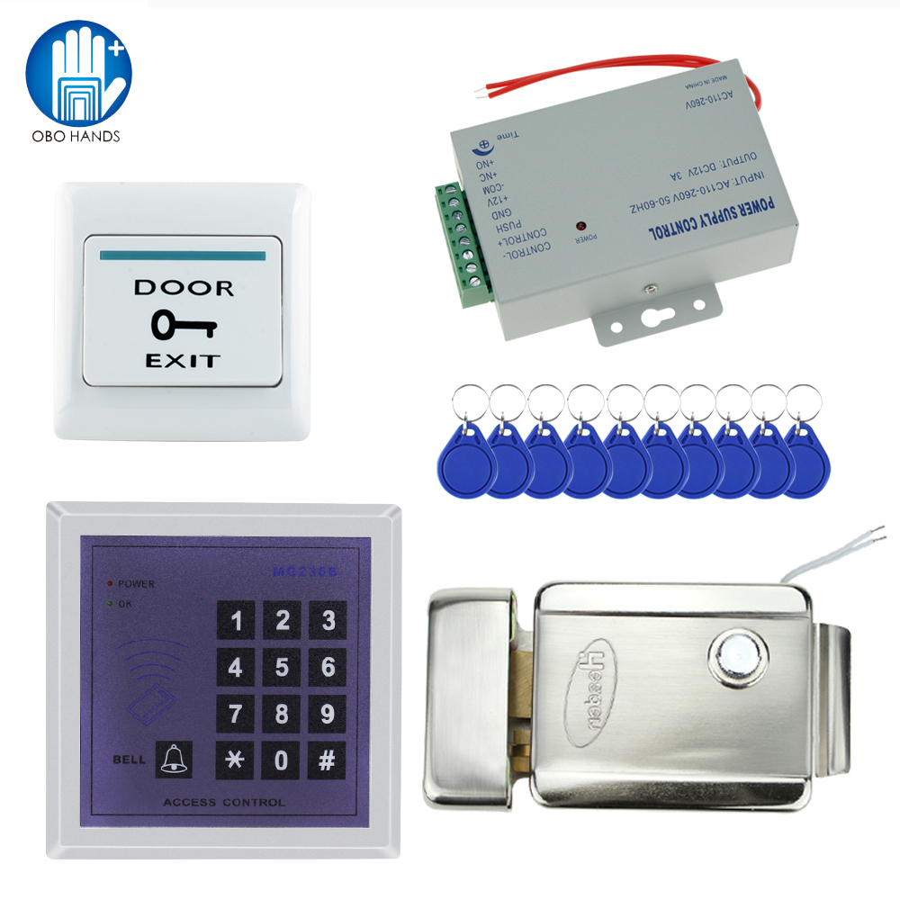Full 13.56MHz access control system for 500 user MG236B model+power supply+electronic control lock+door exit button+key fobs fingerprint door access control security system kit set with electric control lock power supply door exit button for 1000 user