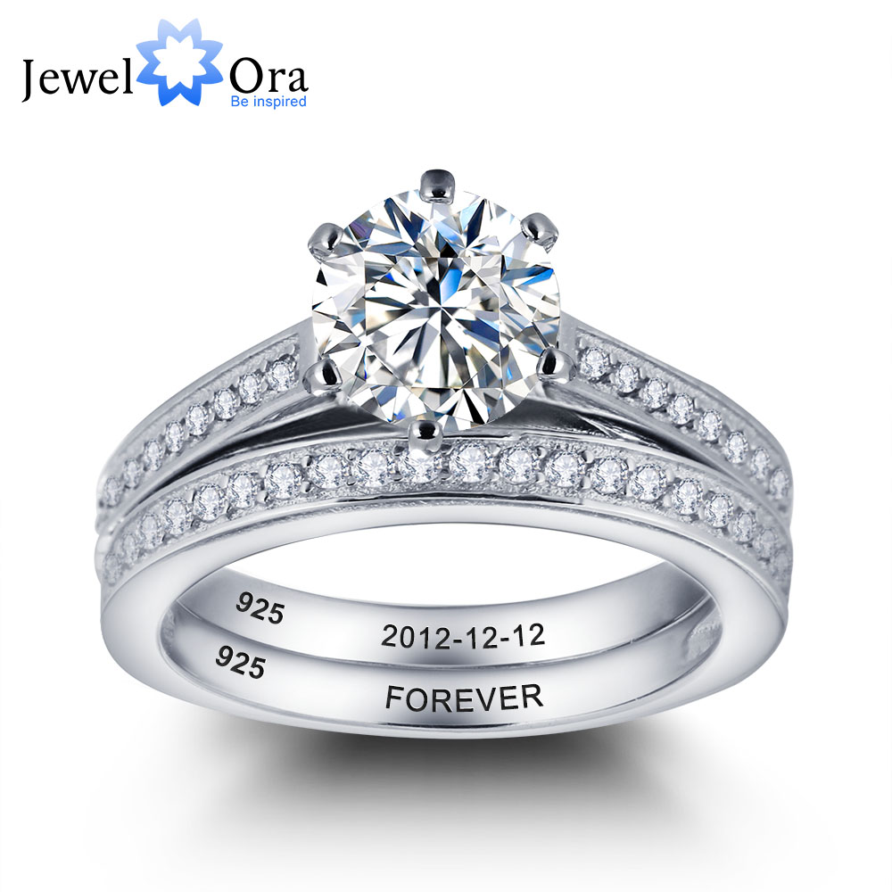 Personalized Engrave Wedding Ring Bridal Sets 925 Sterling Silver Cubic  Zirconia Women Rings Free Gift Box