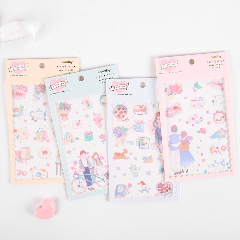 4 Pcs/pack Romantic Love Bullet Journal Decorative Stationery Stickers Scrapbooking DIY Diary Album Stick Label