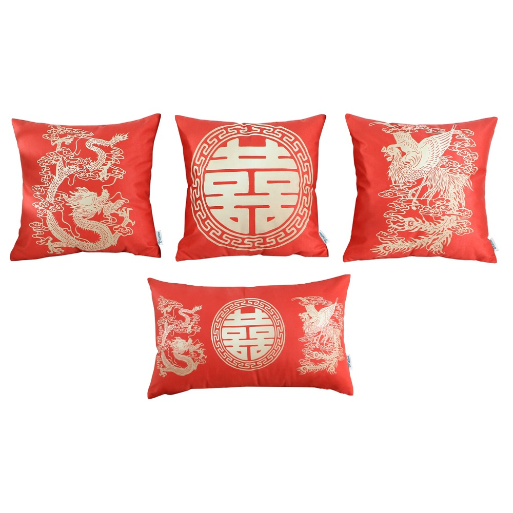 Set Of 4 Calitime Throw Pillow Cover 18 X 18 Inches 12 X 20 Inches