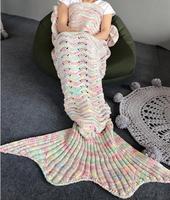 New Style Mermaid Tail Blanket Knitting Sofa Sleeping Acrylic 80*180cm Mermaid Blankets For Bed Super Soft Sleeping Bed