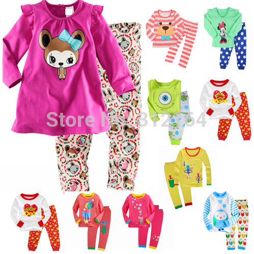 [Bosudhsou] 502 Girls Sleepwear Sell Baby lovely Design Clothing Sets Kids Cotton Pajamas Children Pyjamas sets Boys Long Sleeve cartoon character pijamas pyjamas kids pajamas for boys girls children clothing set sleepwear factory price 2015 newest cheap
