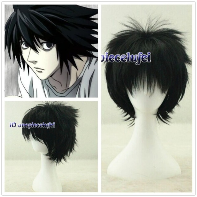 Death Note L Lawliet Short Layered Black Cosplay Anime Hair Wig On