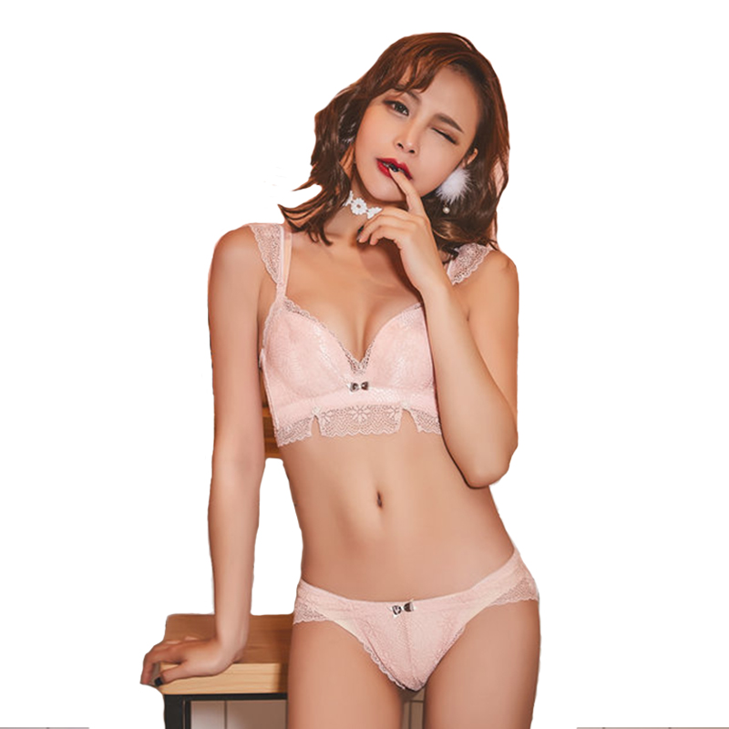 Sexy Mousse Women Sexy Bra Set Lace floral wire free three quarters back closure cotton Adjusted-straps embroidery pink blu