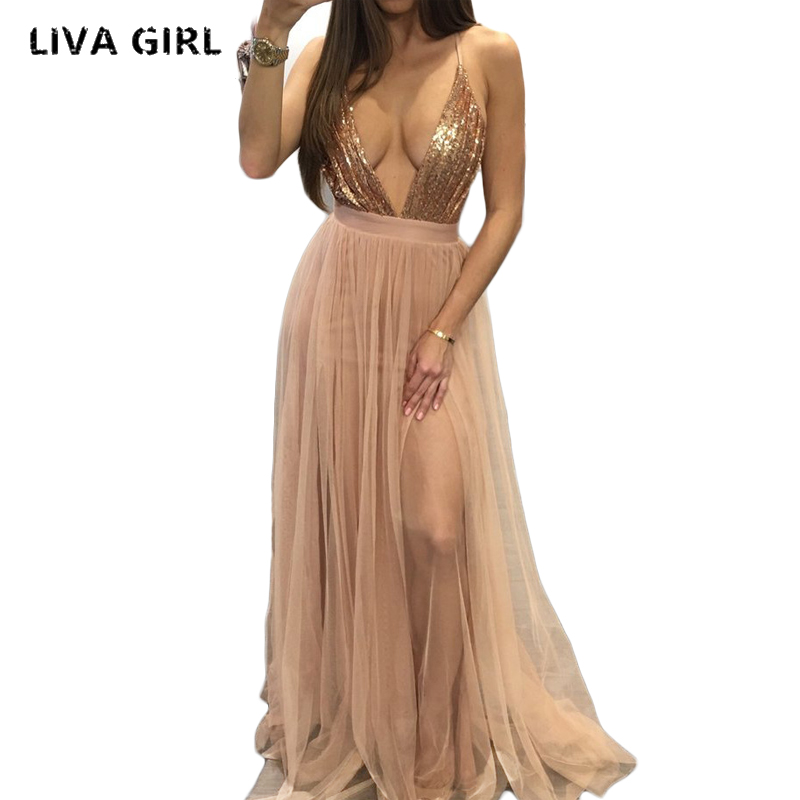 Nouveau Style de mode 2017 rose tenue de Club Sequin maille dos nu robe de soirée femmes col en v profond robe de boîte de nuit Sexy Maxi robe