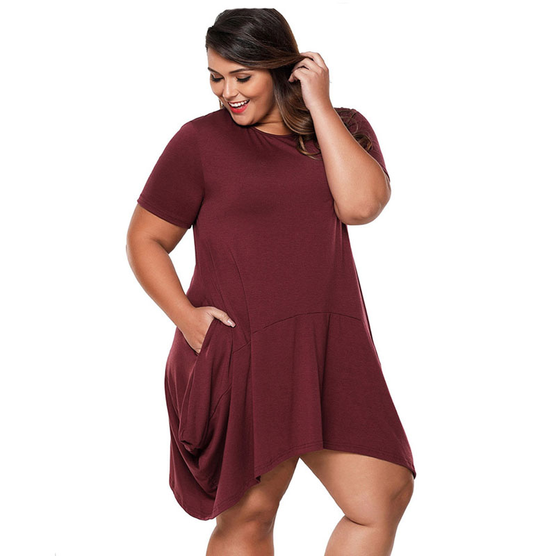 738ae125c4b58 2018 Aliexpress Women Plus Size Summer Dress Casual Irregular O neck Short  Sleeve Big Size Black Dresses Pocket Vestidos XXXL -in Dresses from Women s  ...