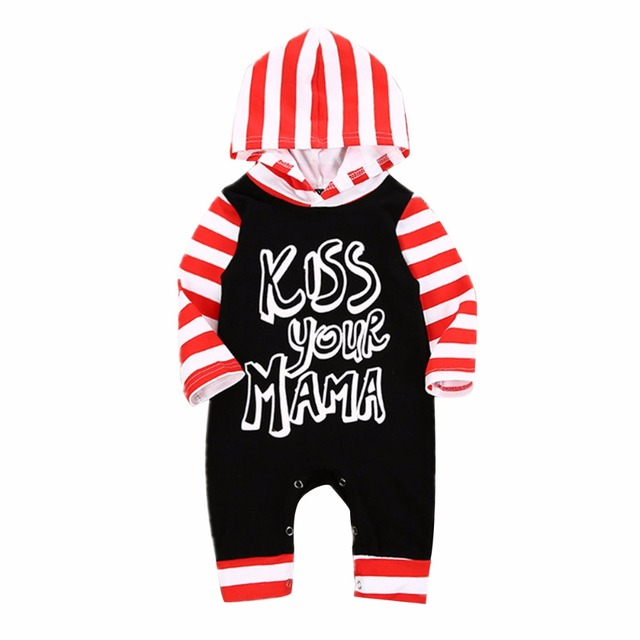 Image of: 018m Infant Baby Kid Kiss Your Mama Letter Striped Hooded Romper Jumpsuit Playsuit Aliexpress 18m Infant Baby Kid Kiss Your Mama Letter Striped Hooded Romper