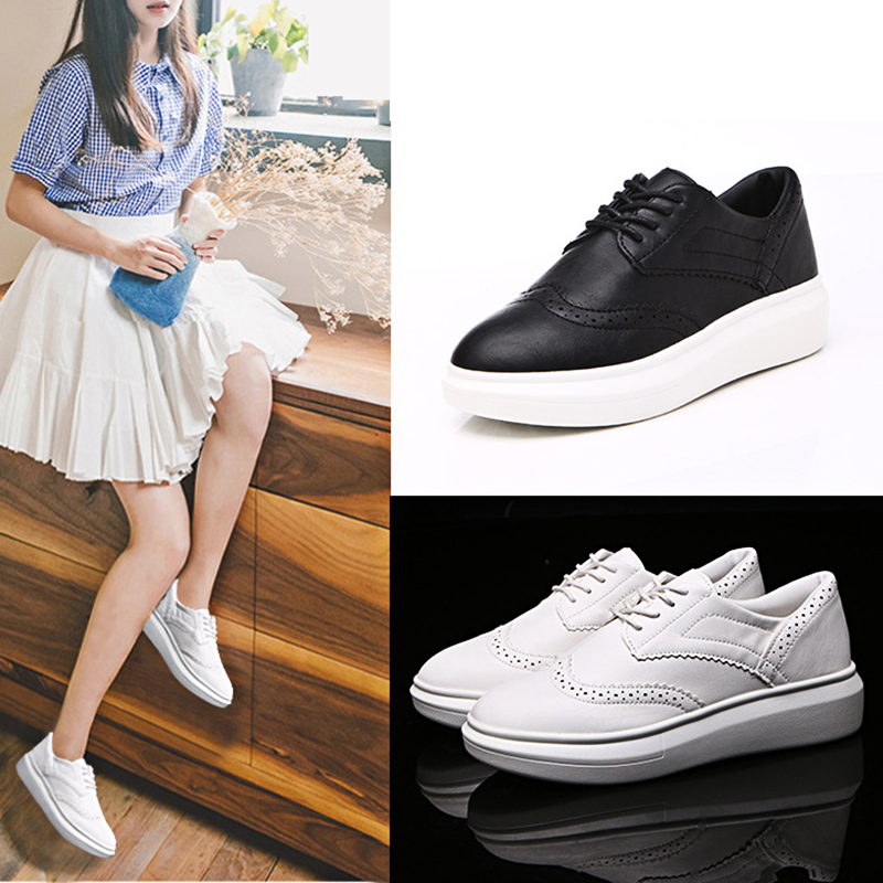CBJSHO Summer Casual Flat Shoes Women Black Increase In Height Lace up PU  Platform High Female Shoe-in Women s Flats from Shoes on Aliexpress.com  a6880ea67f91