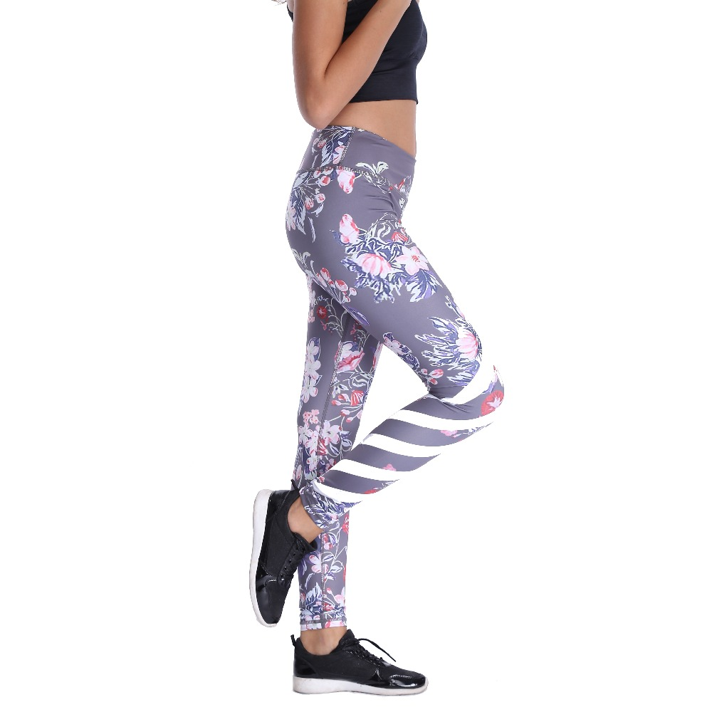 Comfy Floral Print Elastic Waist Compression Gymming Pants Wide Waistband Quick Dry Striped Printing Leggings Fitness Apparal