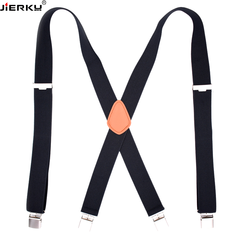 JIERKU Man's Suspenders 4 Clips Outdoor Braces Suspensorio Tirantes Hombre Elastic Strap 2.5*120cm High Quality Father's Gift