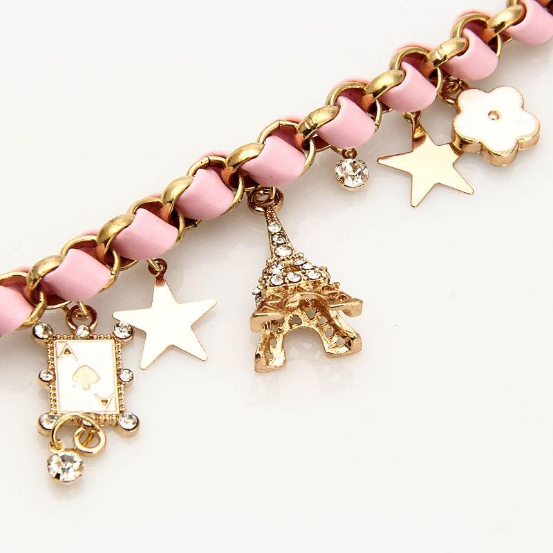 New gold alloy bracelet handmade leather rope bracelet Korean pop tower star flower poker bracelet Bohemian romantic jewelry