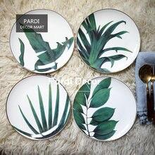 Горячая новинка тарелка с тропическими растениями Золотая десертная