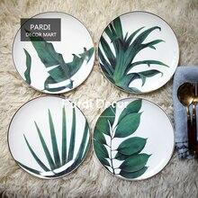 Heiße neue Tropischen pflanzen platte gold inlay dessertteller Westlichen stil geschirr 1 teil/los