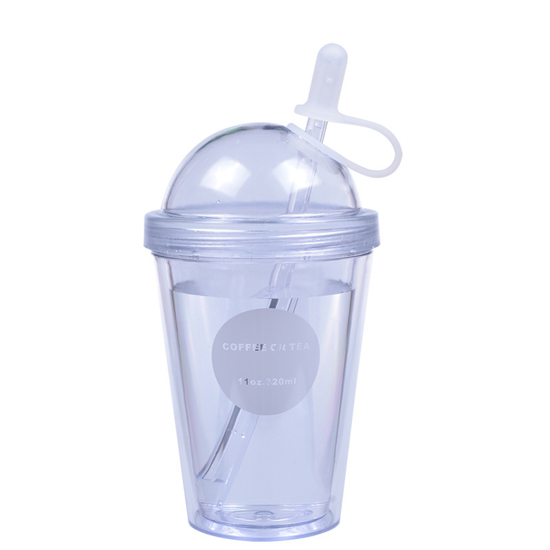 Plastic Coffee Cups With Lids And Straws For Iced Coffee Juice Bubble Boba Smoothie Soda Cocktail Party And Tea 320ml