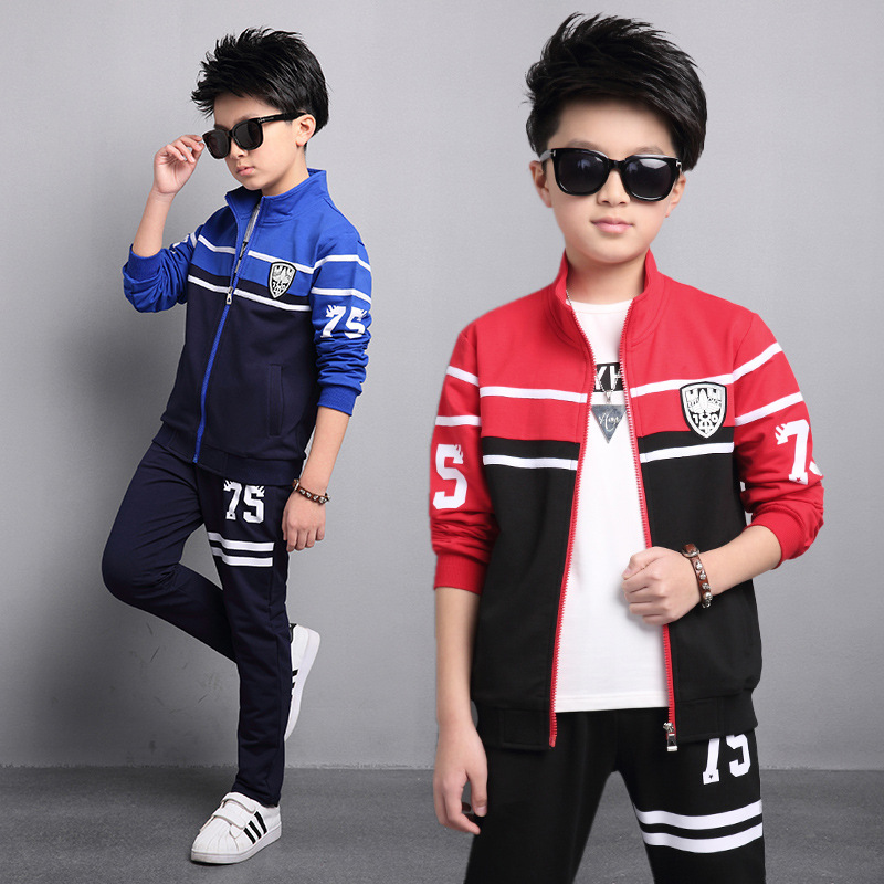 Spring 2017 New Boy Child Casual Sports Suit Boys Kids Clothes Set,jacket+pant 2pcs Suits Free Ship,6-16T aftermarket free shipping motorcycle parts silver chain guard for yamaha 2006 2007 2008 2009 yzf r6 yzfr6 yzf r6