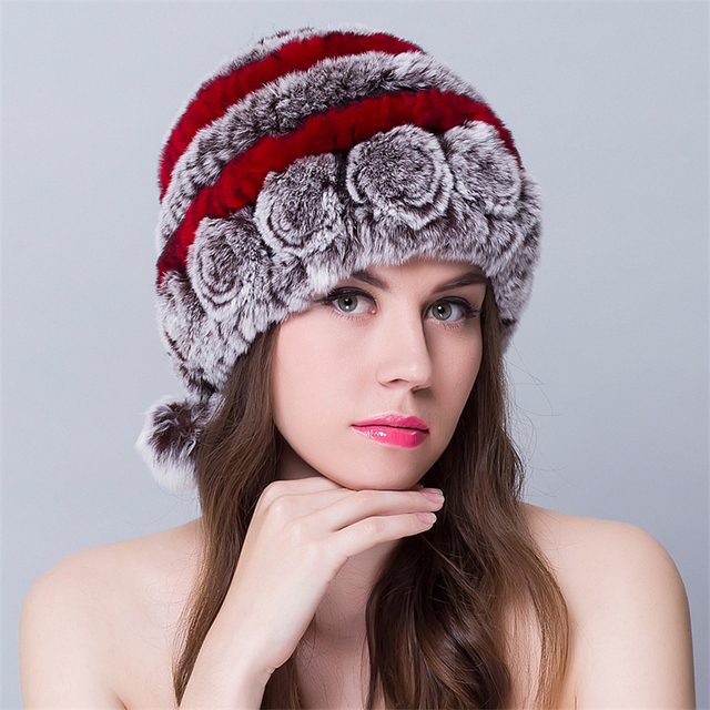 Winter Hat For Women Real Fur Hat and Caps Brand  Rex Rabbit Fur Hats Floral With Cute Balls Design Knitting Caps Female Beanies