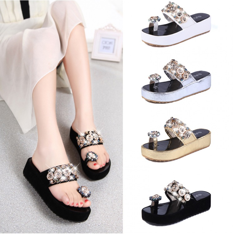 b1f6407c0ba3 Crystal Fashion Bohemian Beaded Flat Sandals Slippers And Flip Flops Online  Shopping Diamond Wedges Summer Beach Shoes 2380