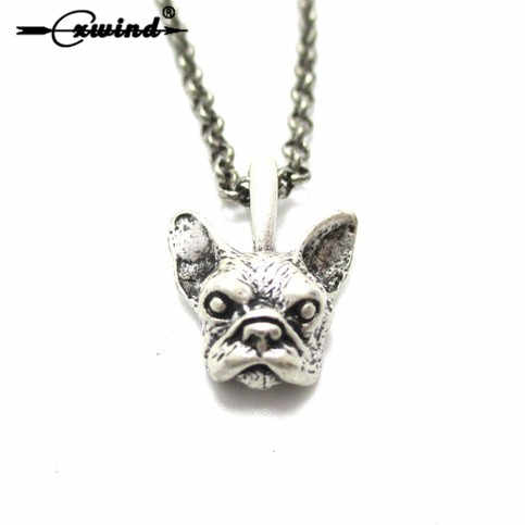 Cxwind Retro 3D Francês Bulldog Animal Colares Jóias Presente para As Meninas mulheres collier Bijoux Gargantilha Colar Colar de Cão