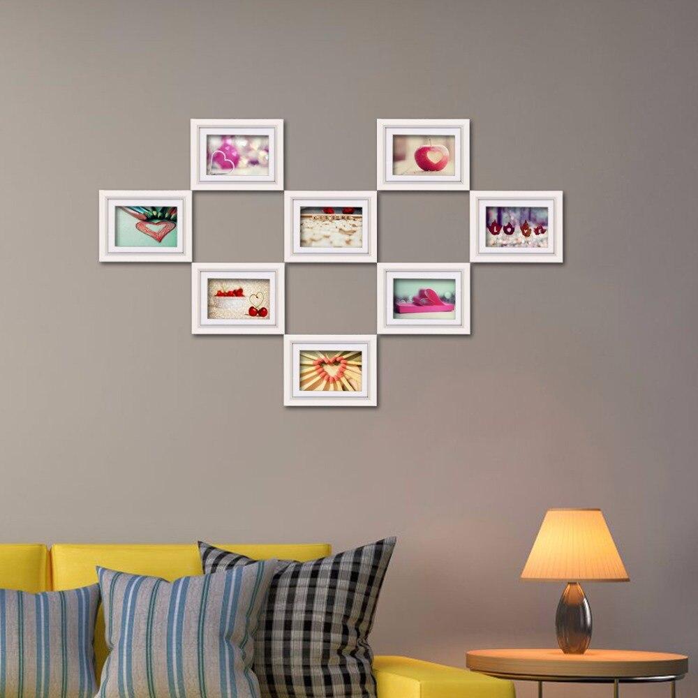 Giftgarden 4x6 blanc Art motif mur cadres Photo mode salon décalque en bois cadres Photo ensemble de 8