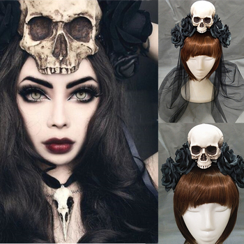 Handmade Black Witch Skull Rose Headband Hairband Accessory Demon Evil Gothic Lolita Cosplay Halloween Headwear Prop