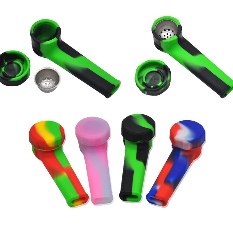 Silicone Tobacco Pipe With Cap Bowl Narguile Hookah Accessory Tobacco Pipe Cigarette Filter Holder