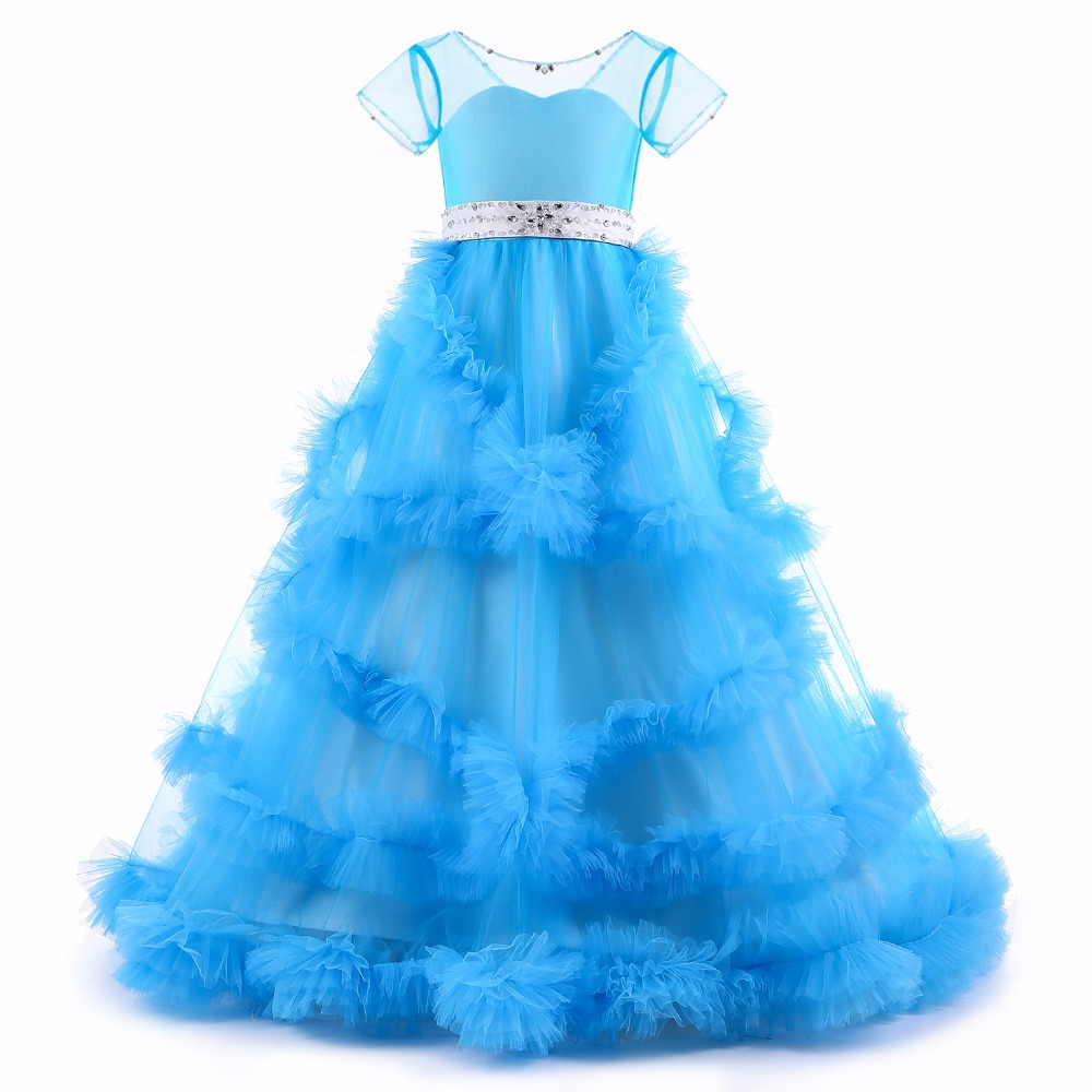 100% actual image ball gown girls dresses pageant dresses tulle tiered with beaded sash flower girls dresses for wedding цены онлайн