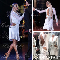 GOODANPAR women Sleeve lycra Fringe Latin Dance Dress competition Dance Wear with bodysuit bra cups Samba Salsa Costume white