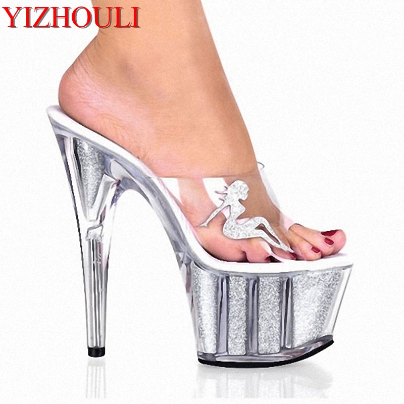 Transparent crystal slippers sexy 15CM high heels stage fashion show slippers