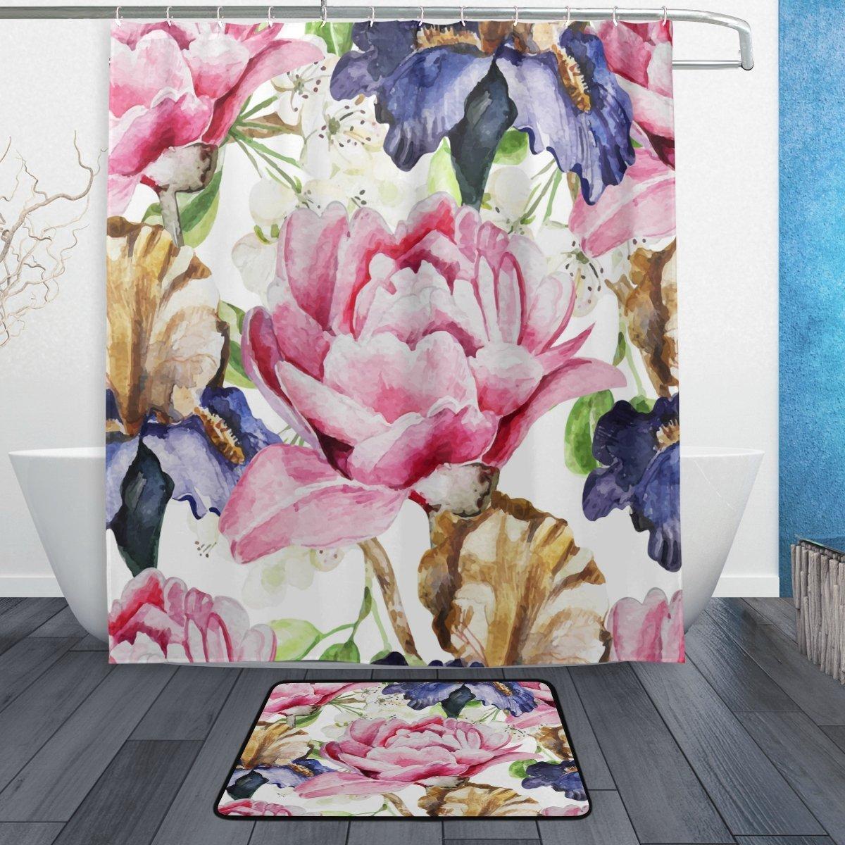 Vintage Watercolor Pink Flower Waterproof Polyester Fabric Shower Curtain with Hooks Doormat Bath Floor Mat Bathroom Home Decor